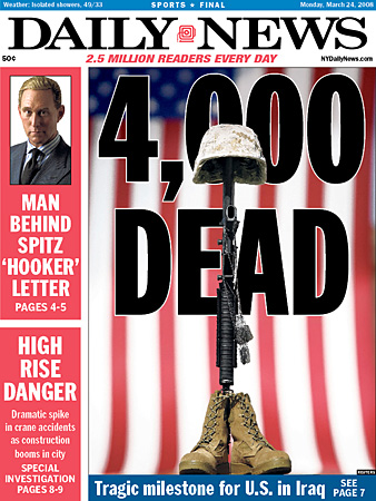 Daily New cover: 4,000 U.S. Soldiers Dead in Iraq