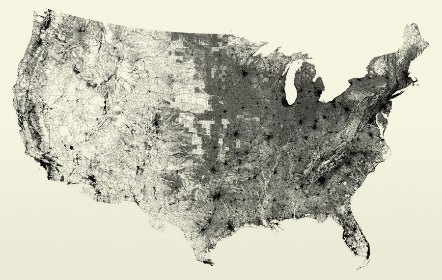 Map of U.S. streets by Ben Fry