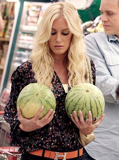 Heidi Montag checks her melons