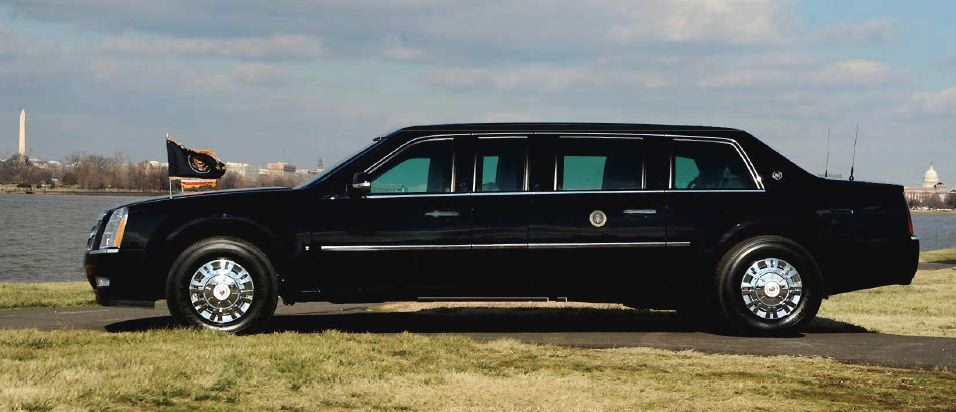 Presidential inaugural limo, side view