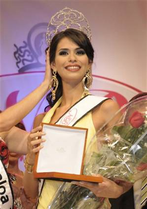 Laura Elena Zuniga Huizar, 23, taking home the crown at the Nuestra Belleza Sinaloa 2008 in July.