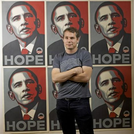 Shepard Fairey in front of his famous poster