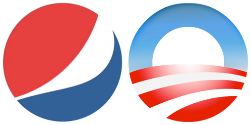 Pepsi logo compared to Obama logo