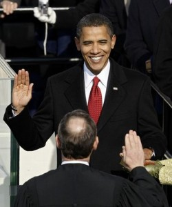 Barack Obama is inagurated as 44th U.S. President.