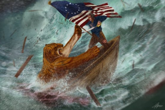 george-washington-fighting-a-bengal-tiger-on-a-sinking-boat-during-a-hurricane